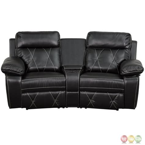 Reclining Theatre Seats by Reel Comfort 2 Seat Reclining Black Leather Theater Seats