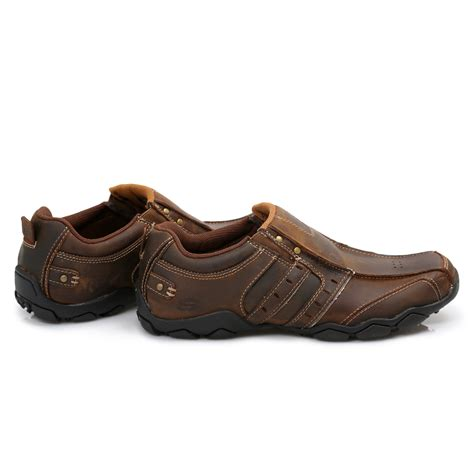 mens brown leather sneakers skechers heisman brown leather mens trainers sneakers