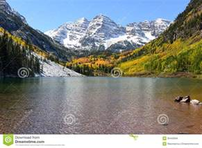 Train Barn Maroon Bells And Lake In Fall Stock Images Image 35443594