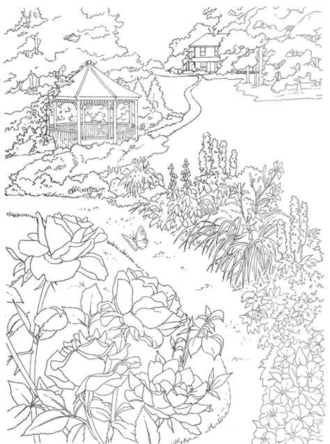 coloring pages of garden scene welcome to dover publications