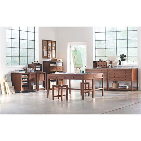 martha stewart living craft space sequoia wood office desk