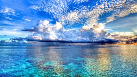 hd wallpaper blue nature nature blue sea and clouds backgrounds wallpapers hd