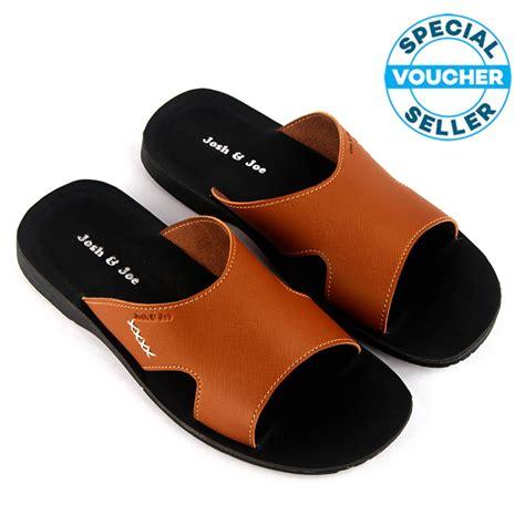 Josh Joe Sandal Pria Keren Cokelat josh joe sandal pria kulit keren cokelat lazada indonesia