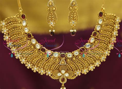 Handmade Gold Jewellery Designs - nl3504 exclusive gold design finish kundan ad handmade