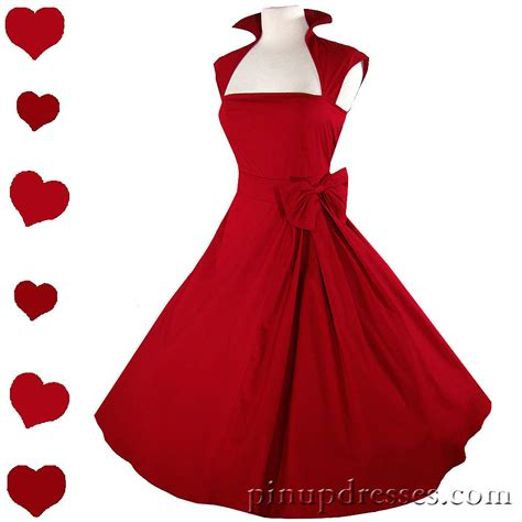 New Red Retro Vintage Style Rockabilly Swing Dress