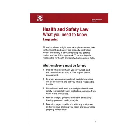 printable h s law poster health safety law large print leaflets firstaid4less