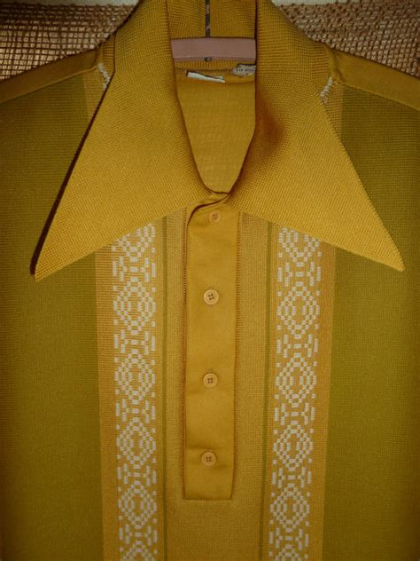 vintage 1960 s 1970 smustard mens knit shirt by hipvintagesoul