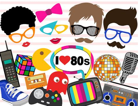 80s themes cartoons instant download 80 s photo booth props 1980s party