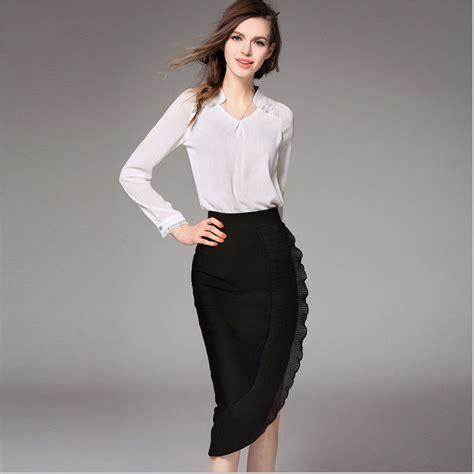 Fashion Blouse Set 2 set skirts and blouses 2016 fall chiffon