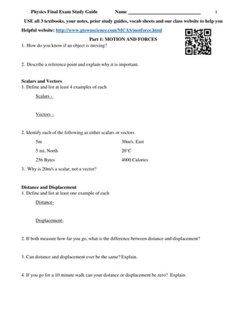 Energy Review Worksheet by Physics Study Guide Review Worksheet By