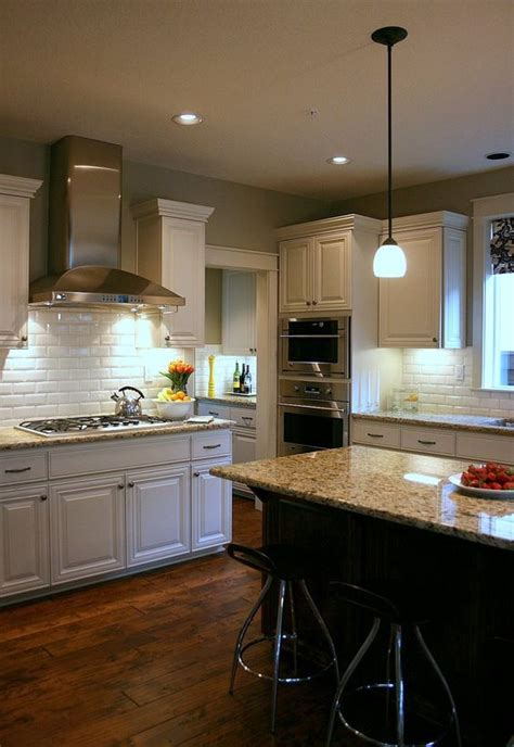 kitchen subway tile backsplash bevel and rustic wood