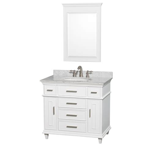 36 Inch Bathroom Vanity Cabinets Berkeley 36 Inch White Finish Bathroom Vanity With White Porcelain Oval Undermount Sink