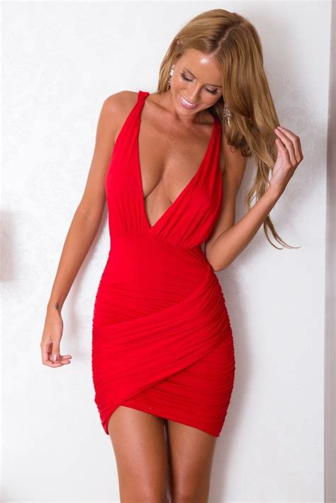 pinterest female lowcut sexy red dress with low cut v and crisscross back all