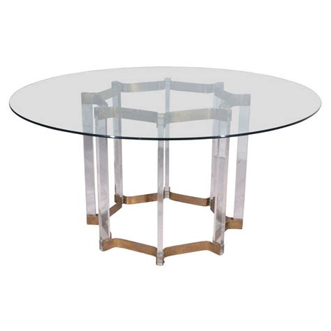 lucite and brass dining table with glass top at 1stdibs