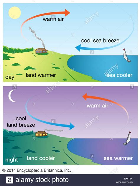 diagram of sea and land land and sea breezes stock photo 84973166 alamy