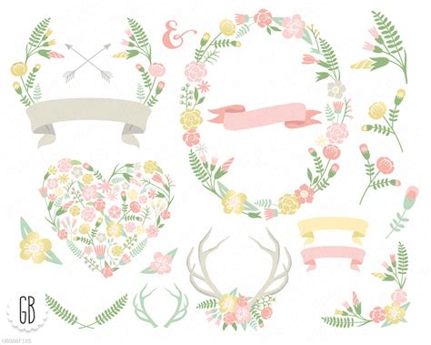 flower wreaths floral heart antlers floral frames crossed
