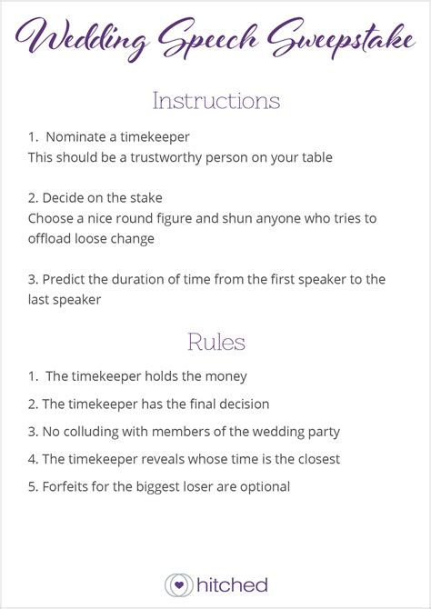 Wedding Speech Sweepstake - wedding table game ideas hitched co uk