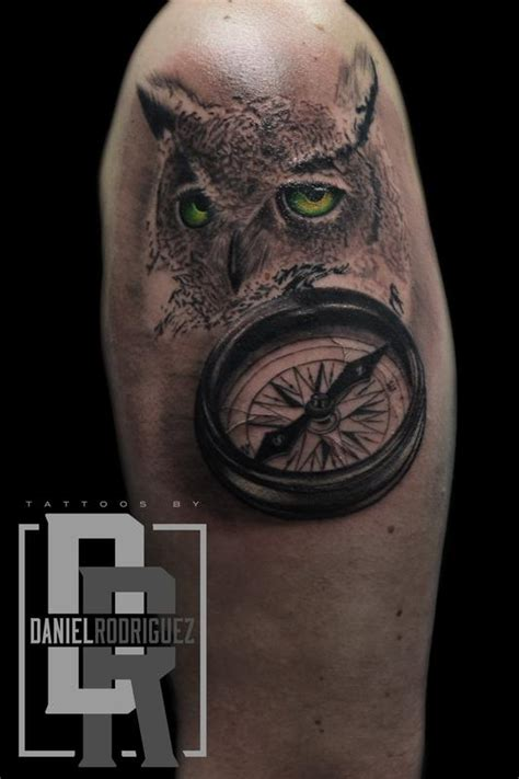 rodriguez tattoo owl compass by daniel rodriguez tattoonow