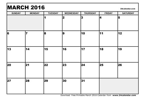 March 2016 Calendar Printable Blank March 2016 Calendar In Printable Format