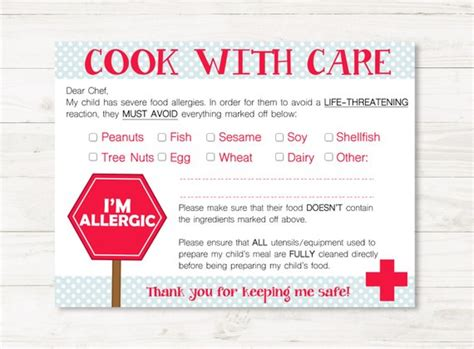 food allergy card template for children allergies chef restaurant cards for child