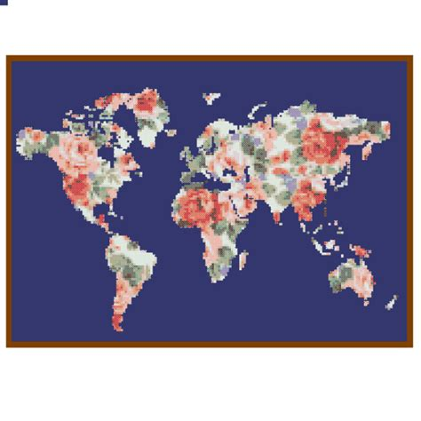 Map File Stitch world map cross stitch pattern modern floral globe wall gift zindagi designs