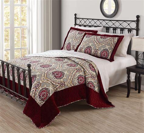 Burgundy Quilts by 3 Emilia Burgundy Velvet Quilt Set