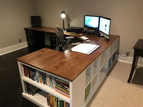 Cubby Bookshelf Corner Desk Combo Diy Projects Office Diy Desk