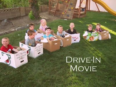 cardboard cars and a backyard quot drive in quot ideas