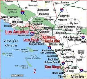 map of south california cities south coast of california guide california