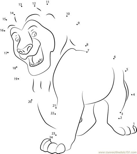 Dot Simba king simba dot to dot printable worksheet connect