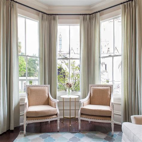drapes on window curtains on bay windows design ideas