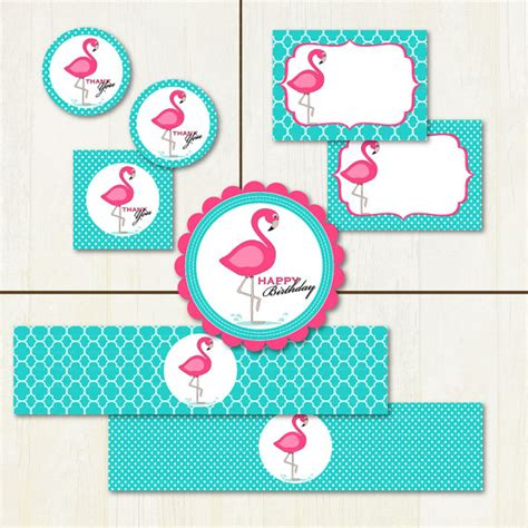 printable party decorations etsy pink flamingo printable party set diy party by