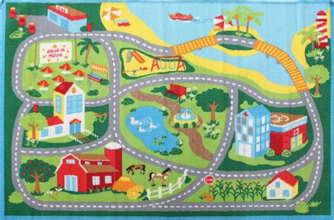 road rug deco city road roads rug 100x150cm childrens baby play mat tracks rugs runners
