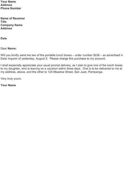 Business Letter Exle For Order Order Letter Sle Free Business Letter Templates And Forms