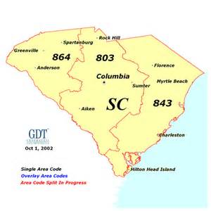 south carolina area code map