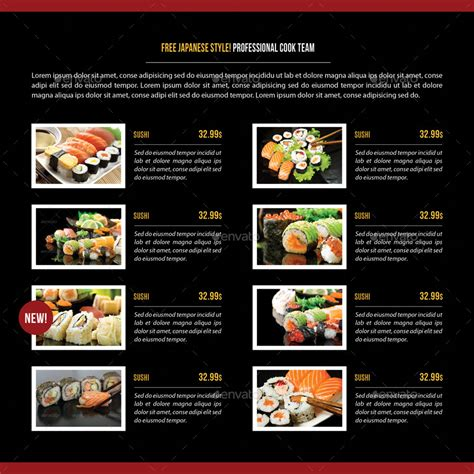 sushi restaurant menu square  fold brochure
