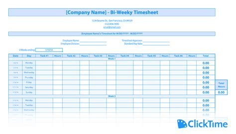Free Timesheet Template Printable Timesheets Clicktime Production Rate Card Template
