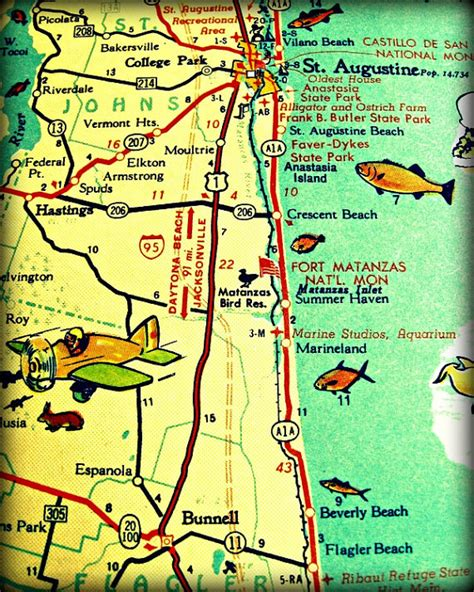 map st augustine retro florida photo 11x14 16x20 aqua
