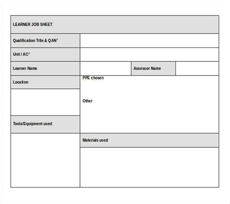 job sheet templates 21 free word excel pdf documents