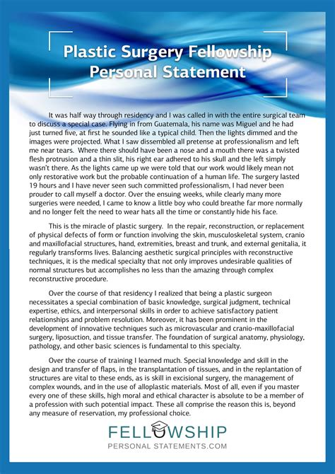 best statements best fellowship personal statement sle