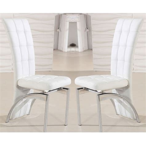 White Leather Dining Room Chair by Ravenna Dining Chair In White Faux Leather In A Pair 19498