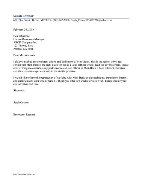 loan officer cover letter template free microsoft word