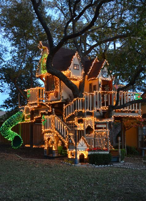 treehouses christmas dallas tx lights tree house eclectic dallas by greenman