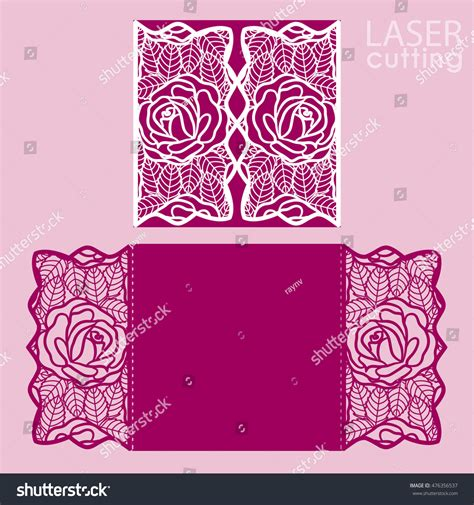 Floral Paper Cut Out Card Template by Laser Cut Wedding Invitation Card Template Stock Vector