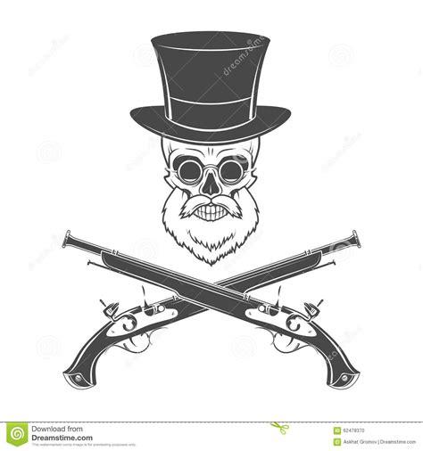 top gun hat template gentleman of fortune skeleton with beard glasses stock