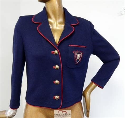st santana knit jacket st collection navy blue santana knit crest logo