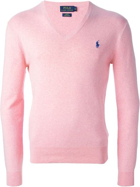 Pink Two Color Sweater Kk406 lyst polo ralph v neck sweater in pink for