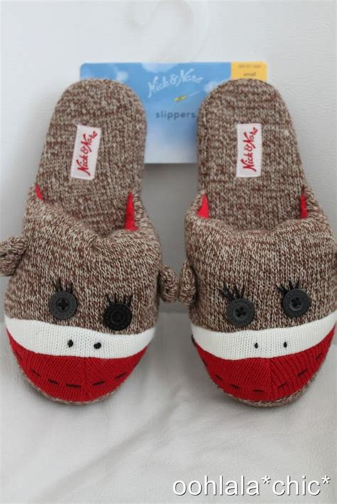 nick and nora monkey slippers nick and nora sock monkey slip on slippers brown