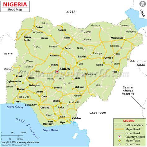distance between major cities of the world nigeria road map