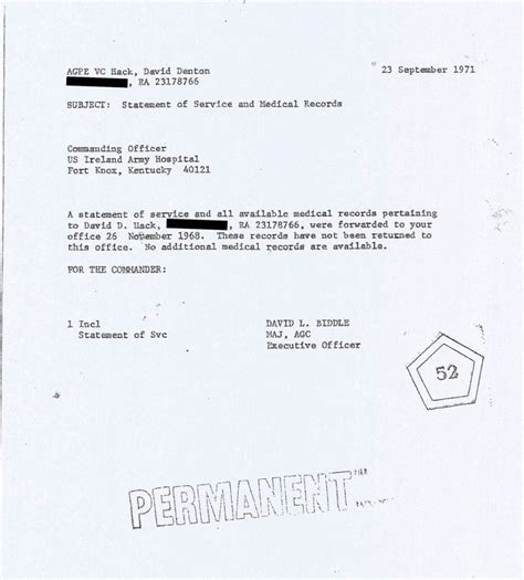 Service Letter No L213 Statement Of Service And Records Sgt Hack